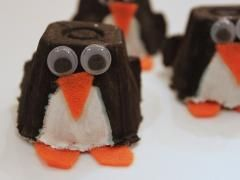 Egg Carton Penguin - 2's can paint the cartoon all black first...let dry...next day dab belly area with cotton ball dipped in white paint..let dry last day pre-cut triangles out of felt or construction paper and get googlie eyes and let them glue it on...Bam! there is your Penguin