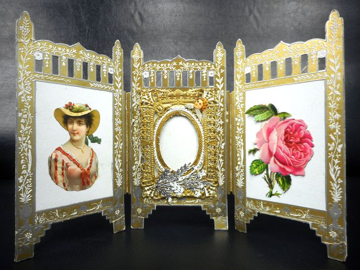 """Antique Victorian Laced Wish Love Card and Picture Frame 6 X 10"""", Gold and Silver Standalone Triptych Screen, Lady, Angel, Cherub, Rose"""