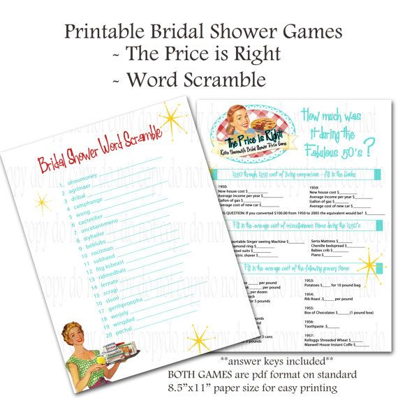 Printable Retro Housewife themed Bridal Shower Games - Word Scramble and Price Is Right  -  $3 printable ETSY