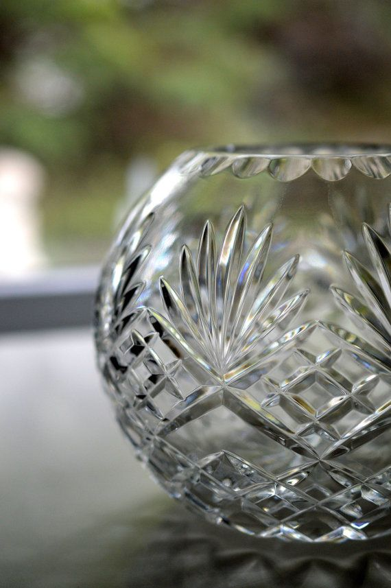 Lead Crystal Rose Bowl Pineapple Pattern Gorgeous Glass Crystal Rose Rose Bowl Pineapple