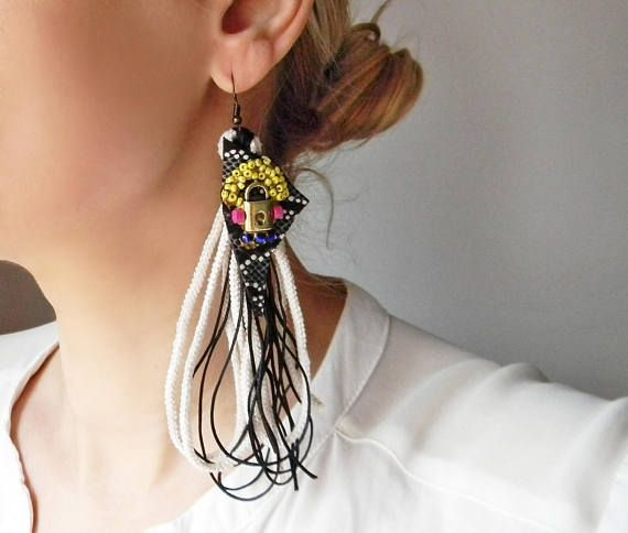 Super long funky tassel earrings black and white with leather
