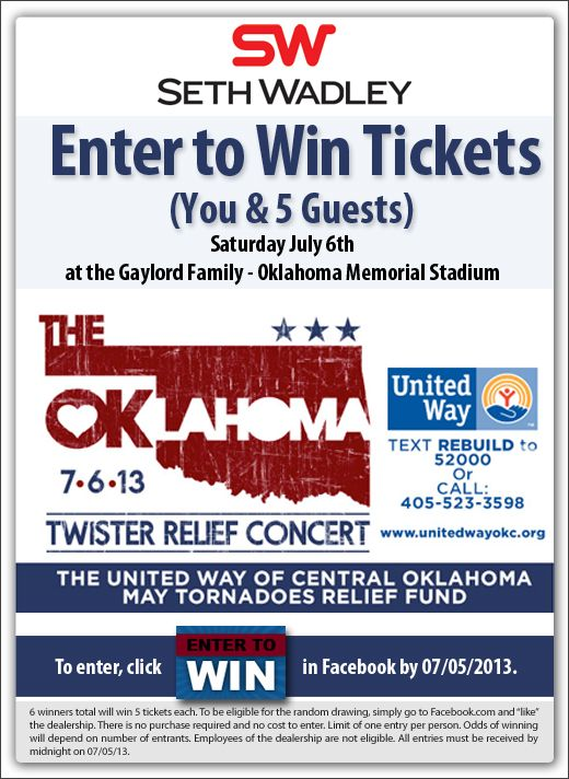 Free tickets to Toby Keith's Twister Relief Concert....