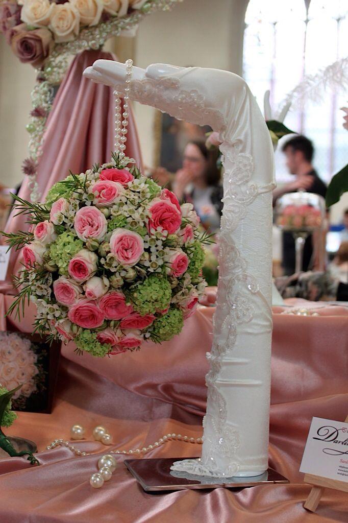 Bridal floral pomander consisting of Mimi Eden spray Roses, Viburnum Opulus and Waxflower