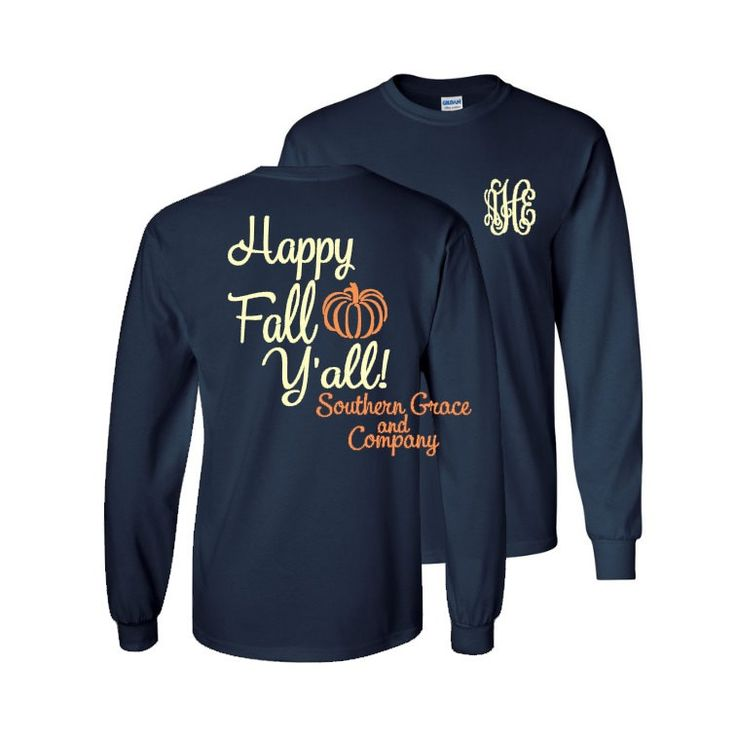 Long Sleeve Monogram T-shirt. (1) Happy Fall Y'all Monogram T-shirt. Fall Pumpkin Monogram Shirt. Personalized Shirt. Monogram Gift. by SouthernGraceAndCo on Etsy