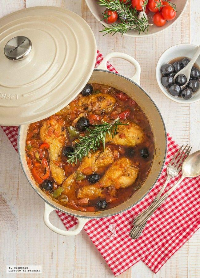 Pollo al romero con aceitunas negras y alcaparras