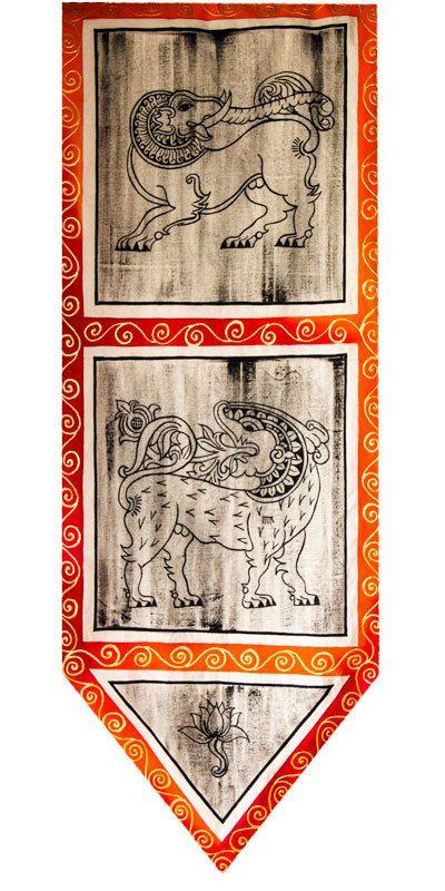 """CeyPearl.com - Wall Art of Kandyan Art - Free Hand Fabric Art - 40"""" (H) x 14"""" (W), $47.83 (http://www.ceypearl.com/wall-art-of-kandyan-art-free-hand-fabric-art-40-h-x-14-w/)"""