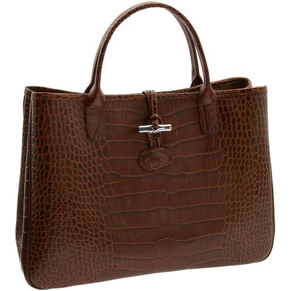 Longchamp 'Roseau' Embossed Tote Sunshine ($475) ❤ liked on Polyvore