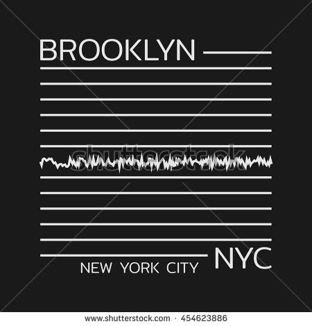 Vector illustration on the theme of New York City, Brooklyn. The Linear design. Typography, t-shirt graphics, print, poster, banner, flyer, postcard