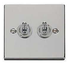 POLISHED CHROME TOGGLE DOLLY DOUBLE TWIN 2 GANG 2 WAY LIGHT SWITCH