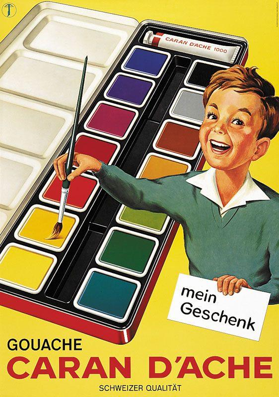 Vintage Poster - Caran d'Ache 1961 - Art - Paints - Painting - Color - Colour - Sixties