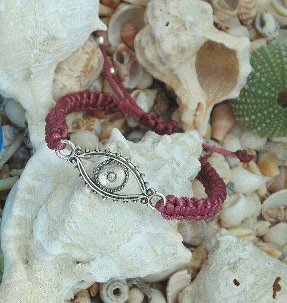 Wine red Greek Mati Bracelet Evil Eye Bracelet by OneiricHearts