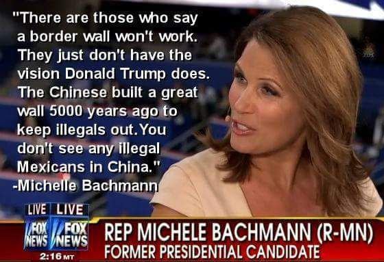 "The Great Wall of China was meant to keep invading armies out. But, yes, Michelle, we don't see many illegal Mexicans in China. What is an ""illegal Mexican"" anyway?"