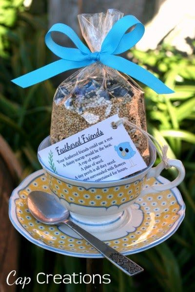 Cap Creations: Perfect time for teacup bird feeders.