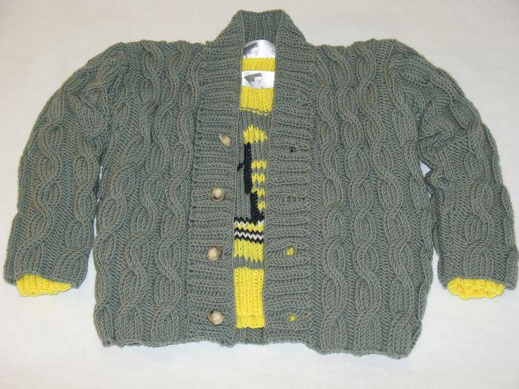 Cardigan Lã Entrançado para Rapaz - 65% lã, 35% alpaca