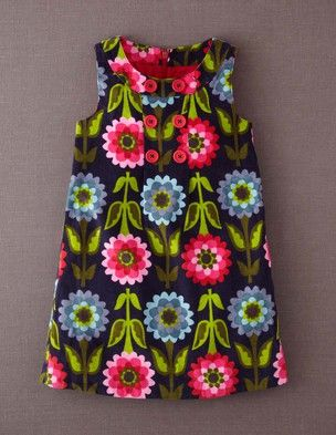 Mini Boden fall 2013 Button Pinafore Dress in true navy collage floral                                                                                                                                                                                 Mais