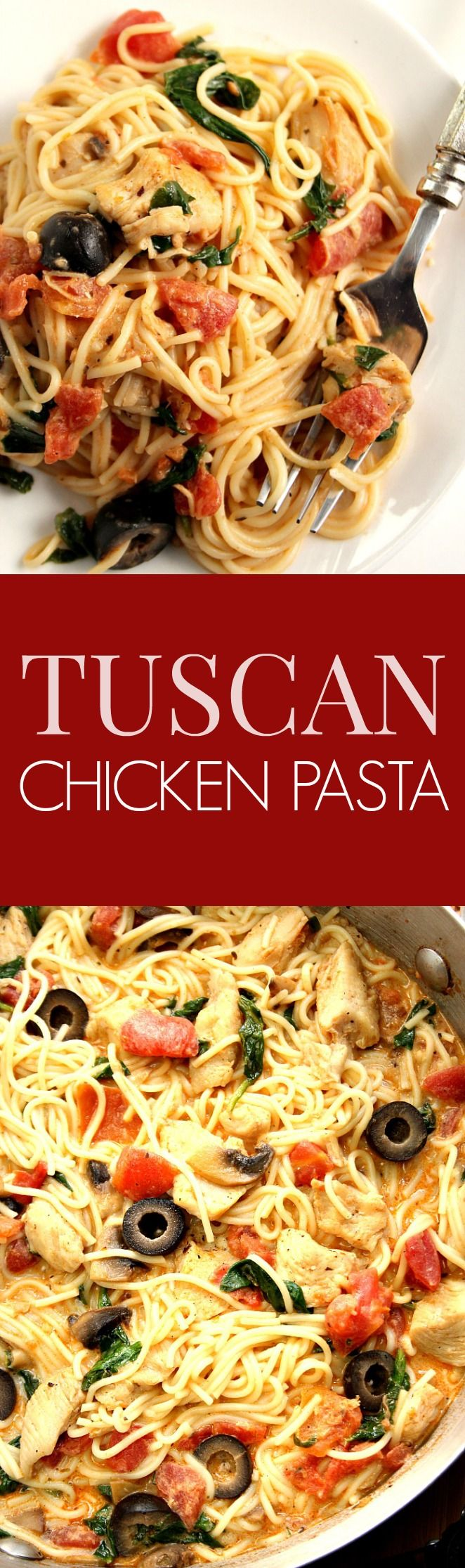 Tuscan Chicken Pasta Recipe - saucy pasta dish with chicken, spinach, tomatoes, olives, mushrooms and angel hair pasta. It cooks in 20 minutes and it's pure comfort food for the soul!