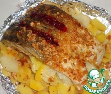 Рыба, запеченная в фольге, с картофелем и репчатым луком ингредиенты