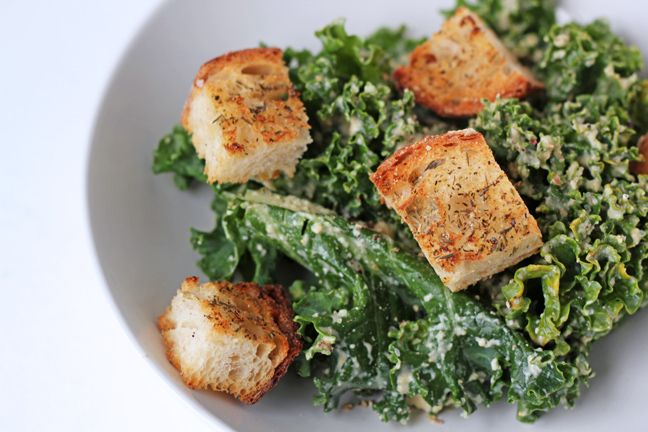Kale Caesar Salad with homemade croutons. Three of our favorite things ...
