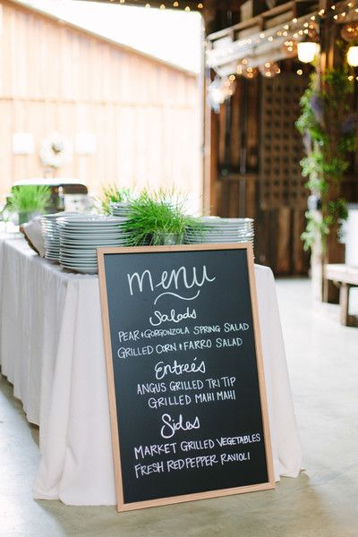 Simple chalkboard wedding sign for wedding menu - spring wedding dinner menu idea {Megan Clouse Photography}