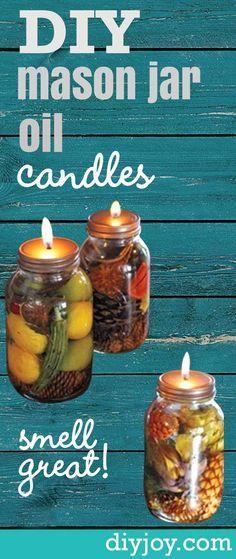 DIY Mason Jar Oil Candles -Rustic Home Decor Projects, Recipes, Mason Jar Crafts and DIY Ideas by DIY Joy http://diyjoy.com/how-to-make-mason-jar-oil-candles