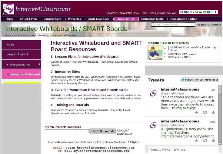 Interactive Whiteboard and Smart Boards - resources for lesson plans and activities for teachers