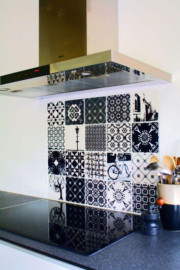 Baldosa hidraulica frente cocina kitchen interiors for Pegatinas baldosas cocina