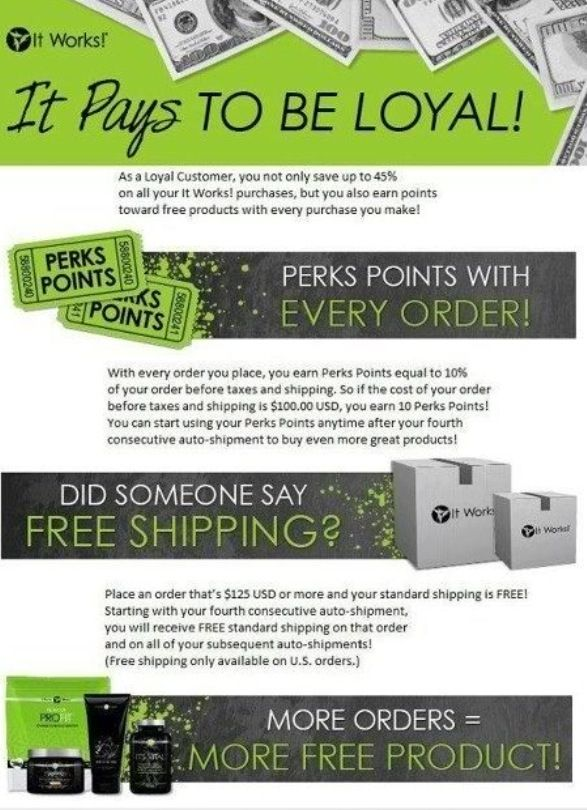 ItWorks! Loyalty Program...your best value.  For product information visit my website: www.ProWrapStar.MyItWorks.com Email: ProWrapStar@gmail.com or message me through Facebook: Pro Wrap Star