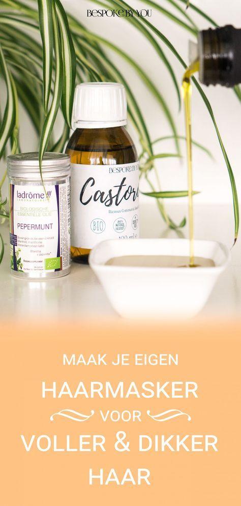 Maak je eigen haarmasker met castorolie (wonderolie), olijfolie en pepermunt etherische olie voor voller, dikker en langer haar!