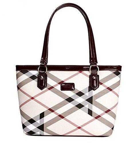 9aa4eb3d420b Lady Womens Designer Stylish Grid Top-Handle Handbag Leather Check Shopping  Tote Shoulder Bag