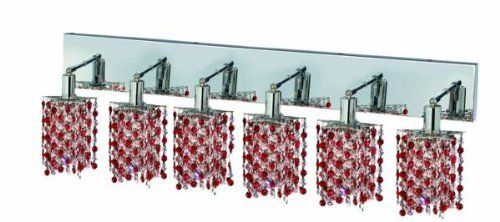 Elegant Lighting 1386W-O-P-BO/RC Mini 13.5-Inch High 6-Light Wall Sconce, Chrome Finish with Bordeaux (Red) Royal Cut RC Crystal by Elegant Lighting. $869.01. From the Manufacturer                This Mini Chandelier is made of 100% Royal Cut RC Crystal. Royal Cut is a combination of high quality lead free machine cut and machine polished crystals & full-lead machined-cut crystals to meet a desirable showmanship of an authentic crystal chandelier. Elegant Lightin...