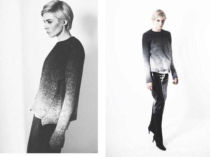 #Sweter damski zz efektem ombrei #spodnica błyszcząca od #topsecret