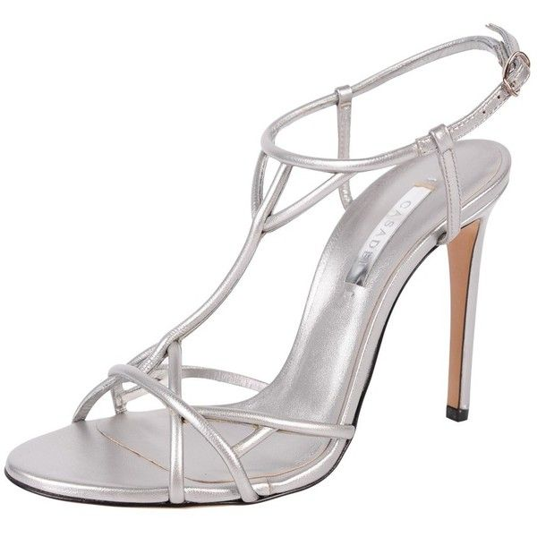 Casadei Thin Strap Sandal ($895) ❤ liked on Polyvore featuring shoes, sandals, silver, open toe sandals, strap sandals, high heel shoes, ankle strap shoes and ankle tie sandals