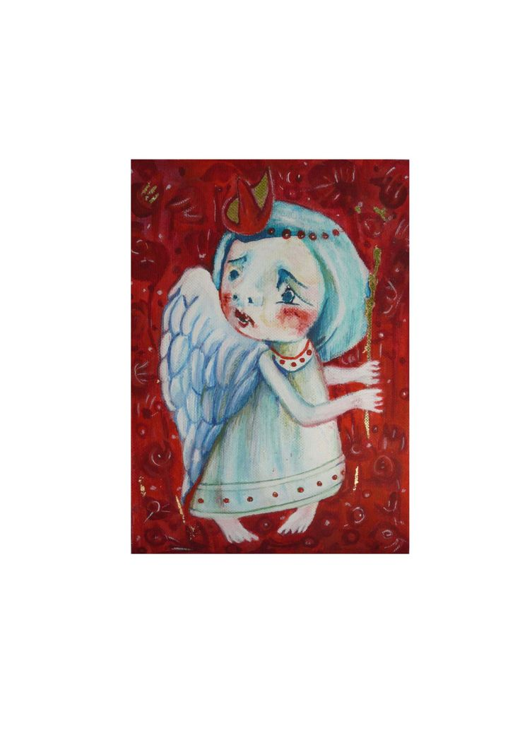 Folk art painting, art angel, fantasy art, angels in art, Primitives, angel gift, abstract angel, paintings with angels, happiness painting by ArtStudioChimeva on Etsy