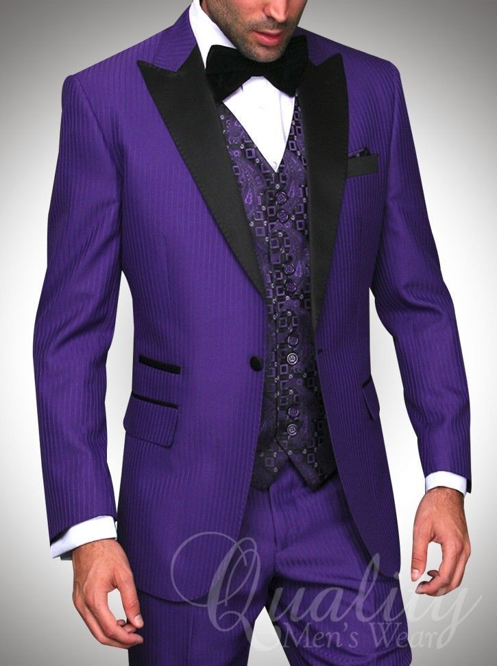 Purple Tuxedo Suit Modern Fit 1 Button Black Trim Tonal Chalkstripe $899 #Statement #ModernFit