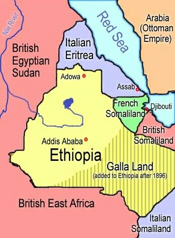 map of Ethiopia in 1908, showing the location of the battle of Adowa, the first Italian settlement at Assab, Menelik's new capital at Addis Abeba. The border with Galla territory is based on an 1885 map and an 1890 map but is arbitrary.Abyssinia, French Somaliland,Eritrea.