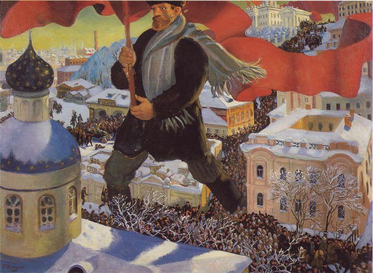 Boris kustodiev il bolscevico; un gigantesco bolscevico emerge dalla folla con in mano una bandiera rossa, simbolo delle organizzazioni operaie