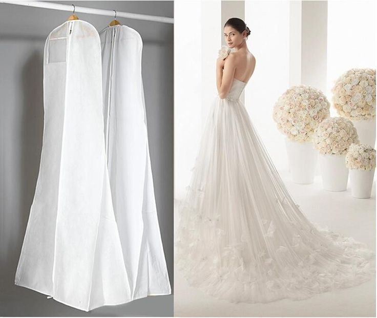 [Visit to Buy] Length 170CM Cheap Wedding Dress Bags Clothes Cover Dust Cover Garment Bags Bridal Gown Bag For Mermaid Wedding Dress Cover #Advertisement