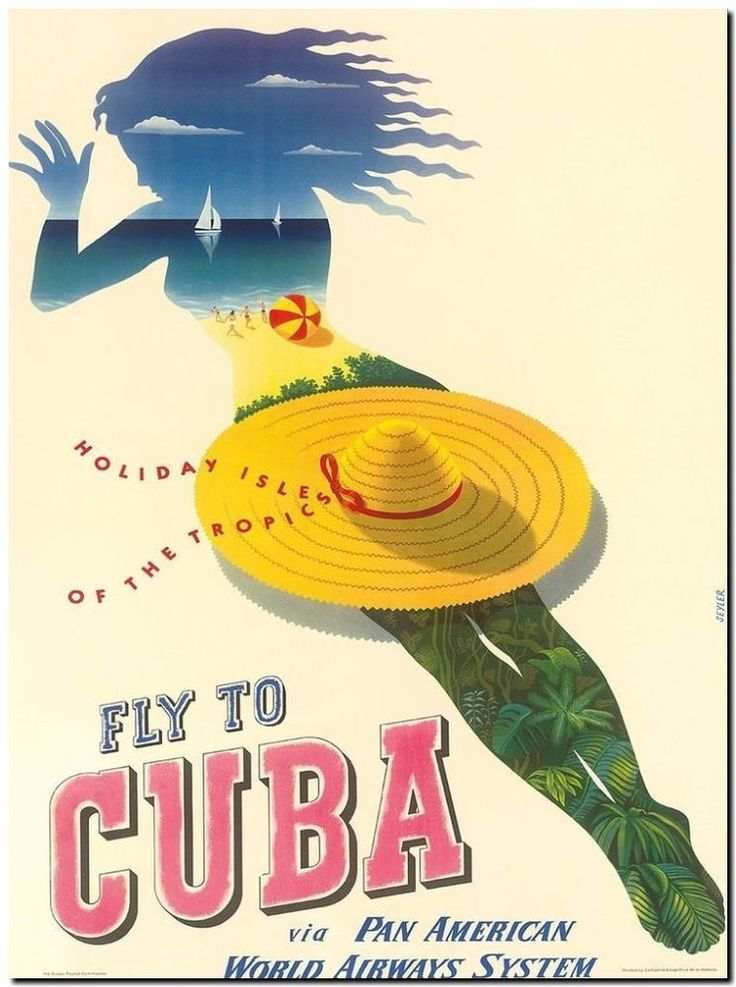 "Vintage Illustrated Travel Poster CANVAS PRINT ~ Cuba panam 36""x24"""