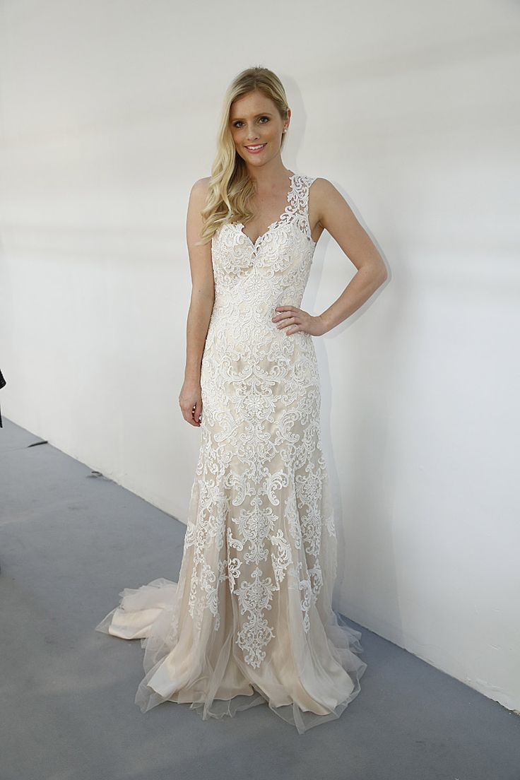 """Roz La Kelin Wedding Dresses, Fall 2015 - Behind the scenes Wedding Wire. Lace sheer wedding gown with champaign and Guipure lace with V-neck and low back """"Peruvian"""" from Roz la Kelin Diamond Collection 2015. #rozlakelin"""