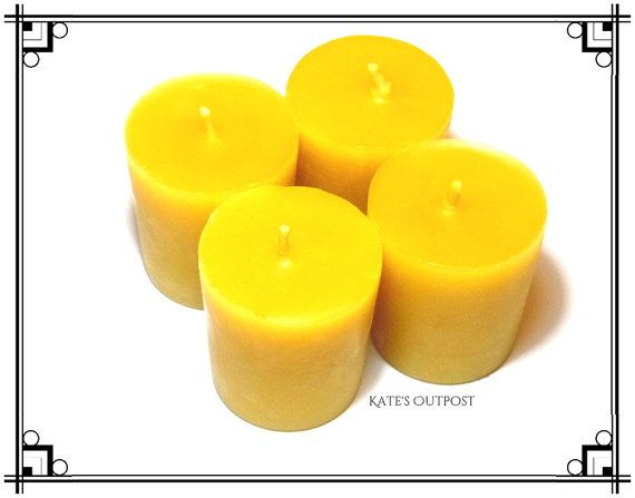 Beeswax Votive Candles ~ Votive Candle ~ 100% Pure Unscented Beeswax Candles ~ Handmade by KatesOutpost