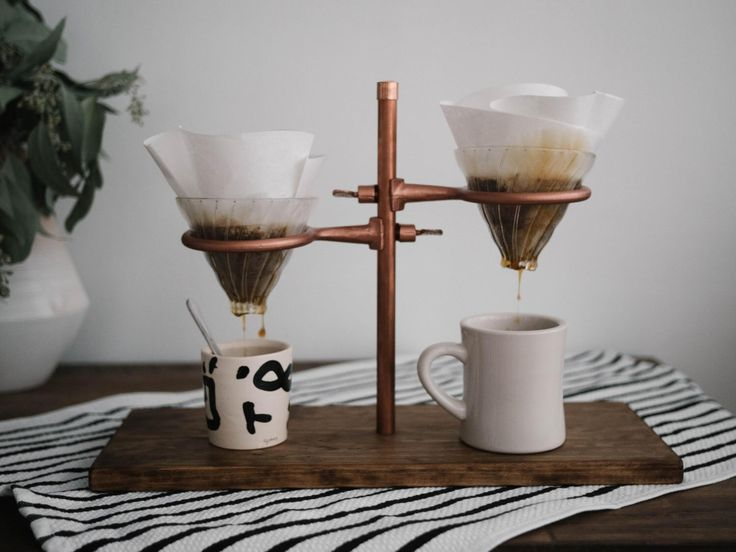 Double Pour Over Coffee Stand - Copper by MaderaSupplyCompany on Etsy https://www.etsy.com/listing/253954461/double-pour-over-coffee-stand-copper