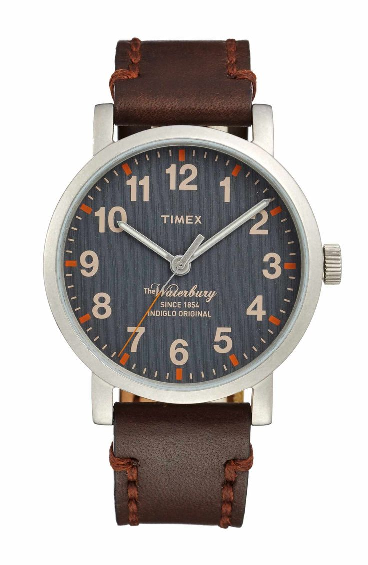 Main Image - Timex® Waterbury Leather Strap Watch, 40mm