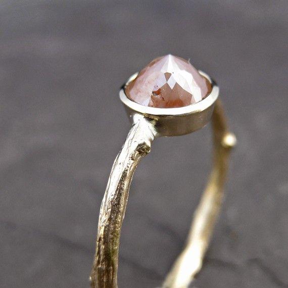 Peach diamond twig ring