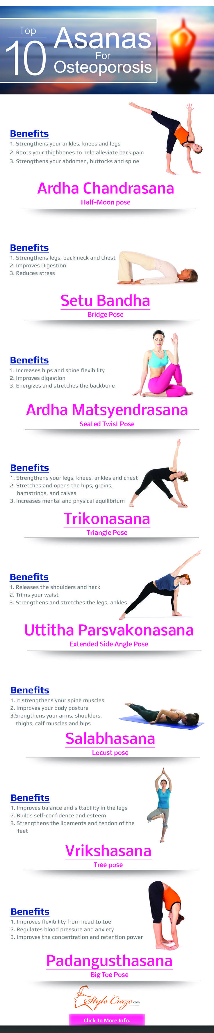 Listed below are the prominent yoga poses for osteoporosis. Follow this step by step yoga for osteoporosis the complete guide and get started