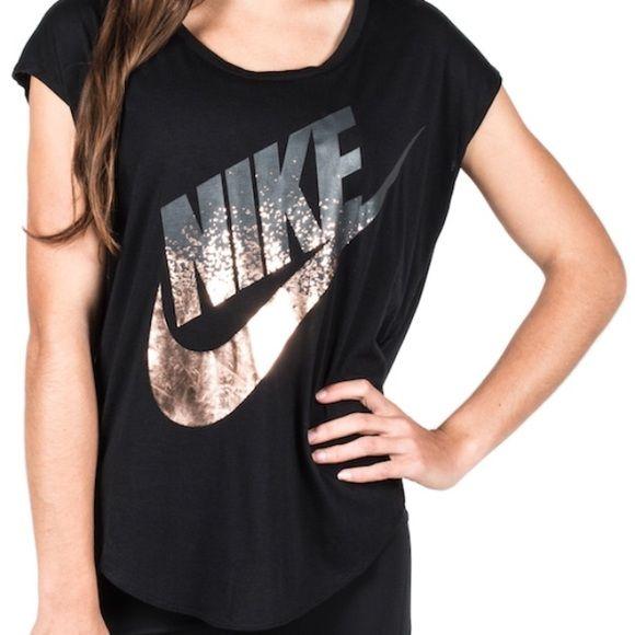 Nike signal metallic tee New with tags, Nike signal metallic/bronze logo oversized tee. Super cute and unique!!! Nike Tops Tees - Short Sleeve
