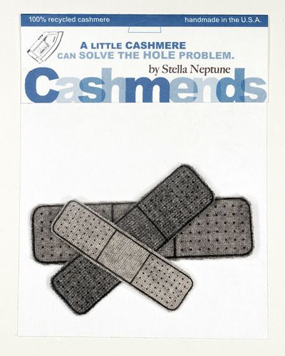Iron-on cashmere patches for those pesky little holes in your favorite cashmere sweaters!  She also makes elbow patches! Other fun shapes,too.
