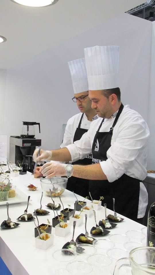 George Chatzopoulos and Manolis Roumpakis - the awesome Aldemar Resort chefs creating Greece on a Dish, World Travel Market - Visit Greece