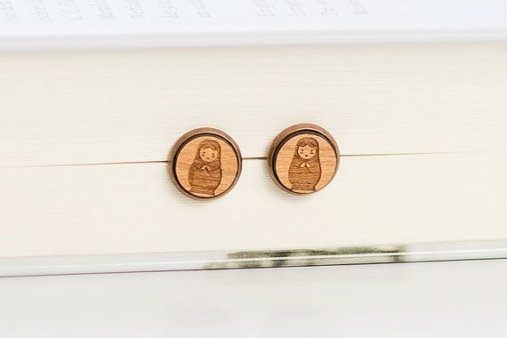 Wooden Earrings Stud  Matrioshka Earring  Babushka by Strickzeit