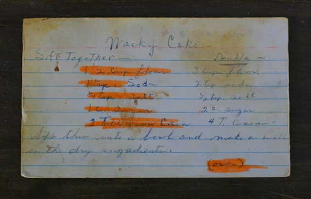 Vintage Whacky cake recipe. No eggs! My grandma and mom used to make this. Double Yum!