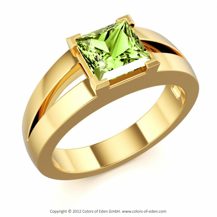 GENIUS | Modern Solitaire Ring with Peridot in 18k Yellow Gold